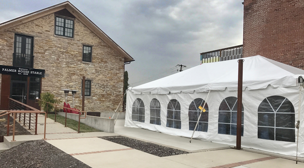 20' x 30' frame tent for a Wedding outside of the Palmer House in Solon