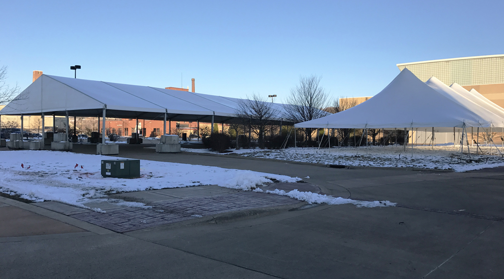 60' x 131' (18m x 40m) Losberger tent and 40' x 100' rope and pole tent setup in Dubuque, Iowa