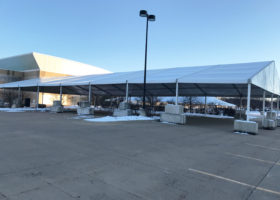 60′ x 131′ (18m x 40m) Losberger tent with dead weight