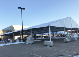 60′ x 131′ (18m x 40m) Losberger tent with no Sidewalls