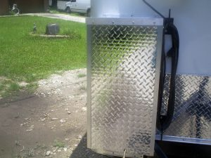 Enclosed CO2 tank holder on 5' x 8' beer trailer
