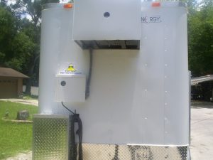 Front of 5' x 8' beer trailer with cooling unit