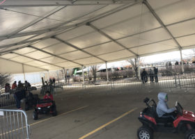 Kids event under large 60′ x 131′ (18m x 40m) Clearspan tent in Dubuque Iowa