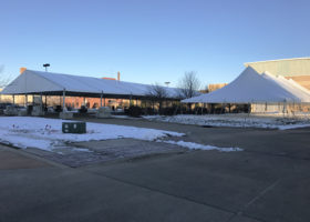 Large event tents set up in Dubuque, Iowa