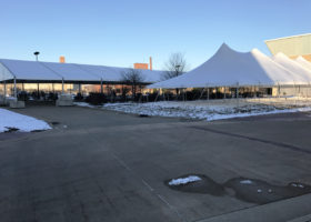 Large tents set up in Dubuque, Iowa