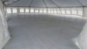 View under tent with 2,400 sq ft of sub floor