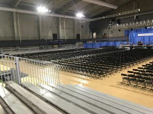 2017 Graduation at William Penn University in Oskaloosa, Iowa with Stage, Chairs, Bleachers and more
