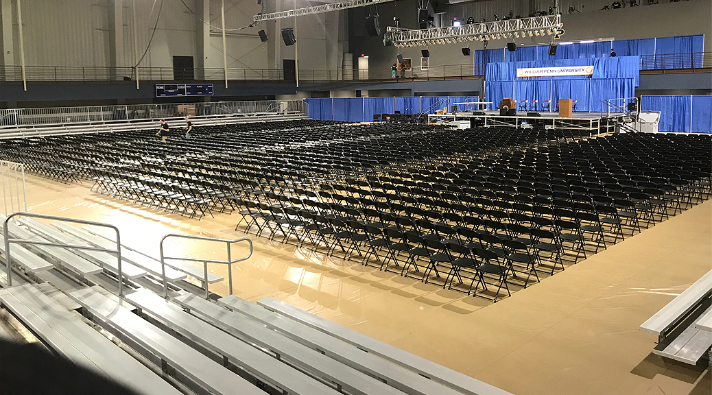 2017 Graduation setup at William Penn University in Oskaloosa, Iowa
