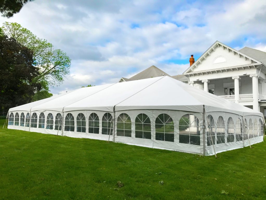 40' x 80' Hybrid event tent at Outing Club on Brady Street in Davenport, Iowa
