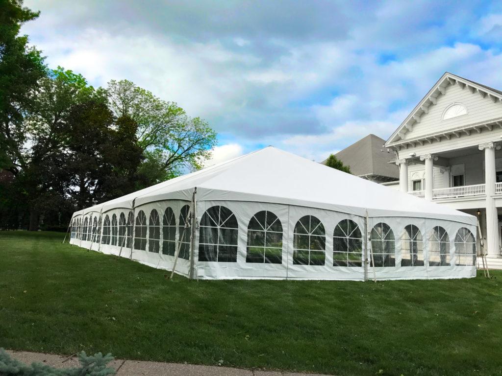40' x 80' Hybrid wedding tent at Outing Club on Brady Street in Davenport Iowa