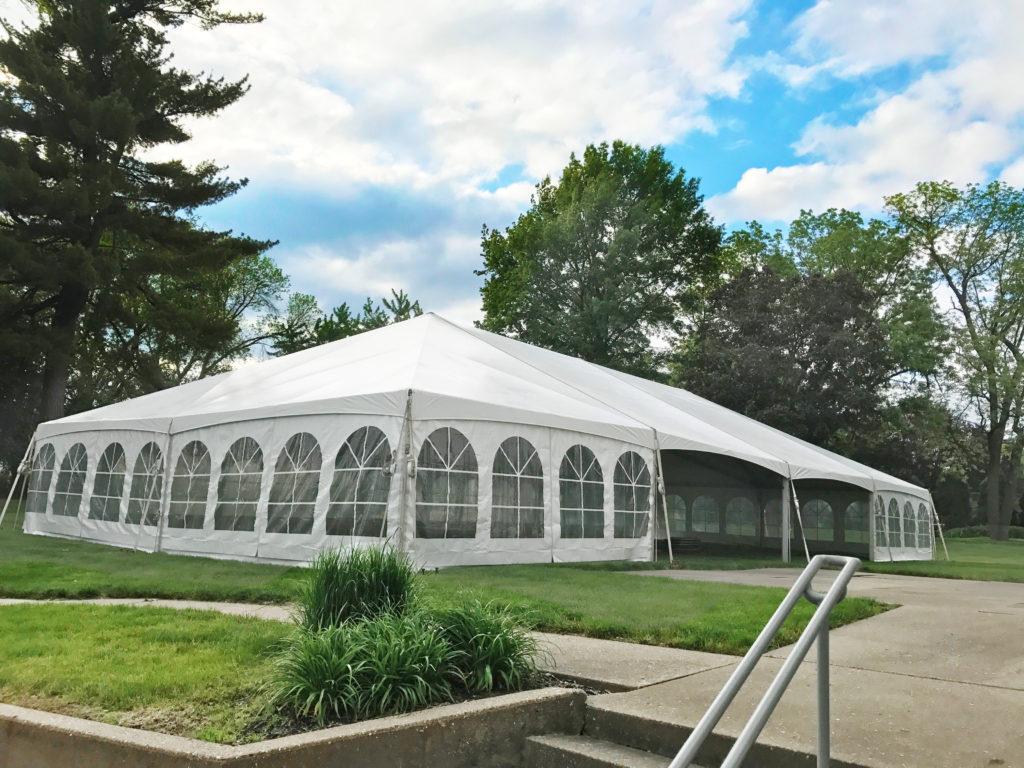 40' x 80' Hybrid wedding tent at Outing Club on Brady Street in Davenport iowa on 5-18-2017