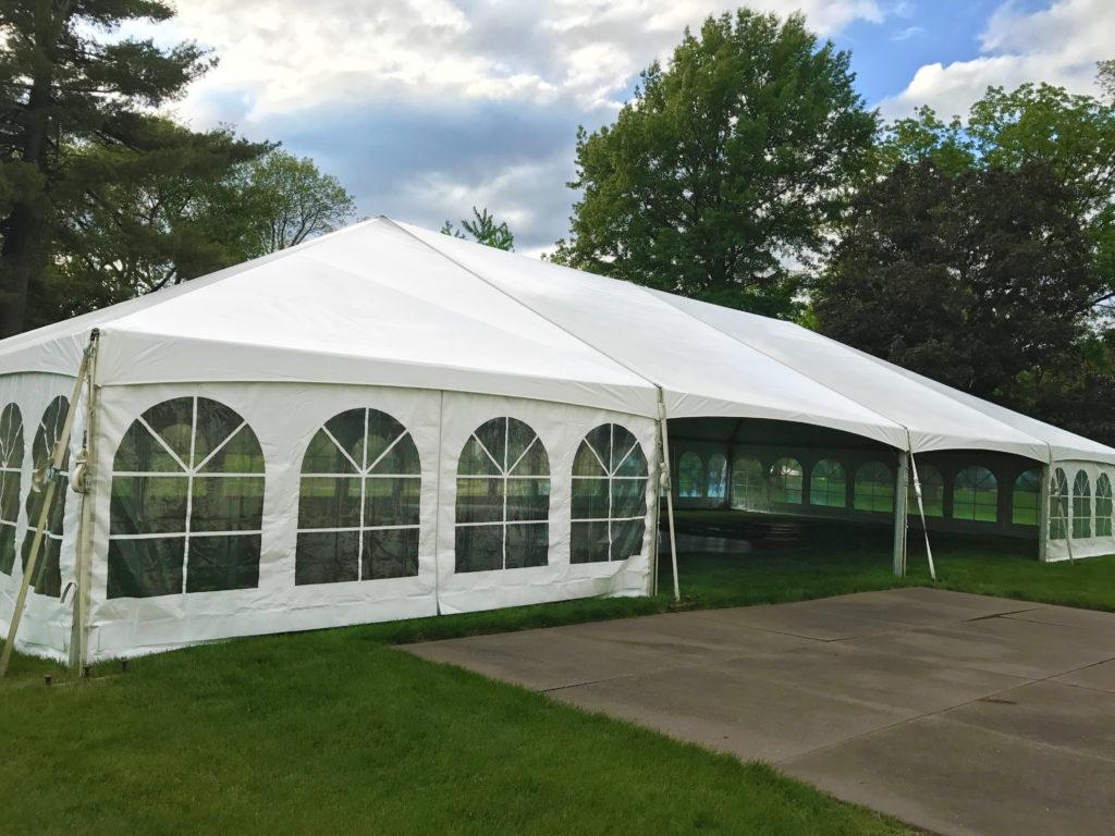 40' x 80' Hybrid wedding tent with French window sidewalls at Outing Club on Brady Street in Davenport, Iowa