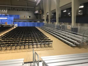 Stage, Chairs, Bleachers and more setup for 2017 Graduation at William Penn University in Oskaloosa, Iowa