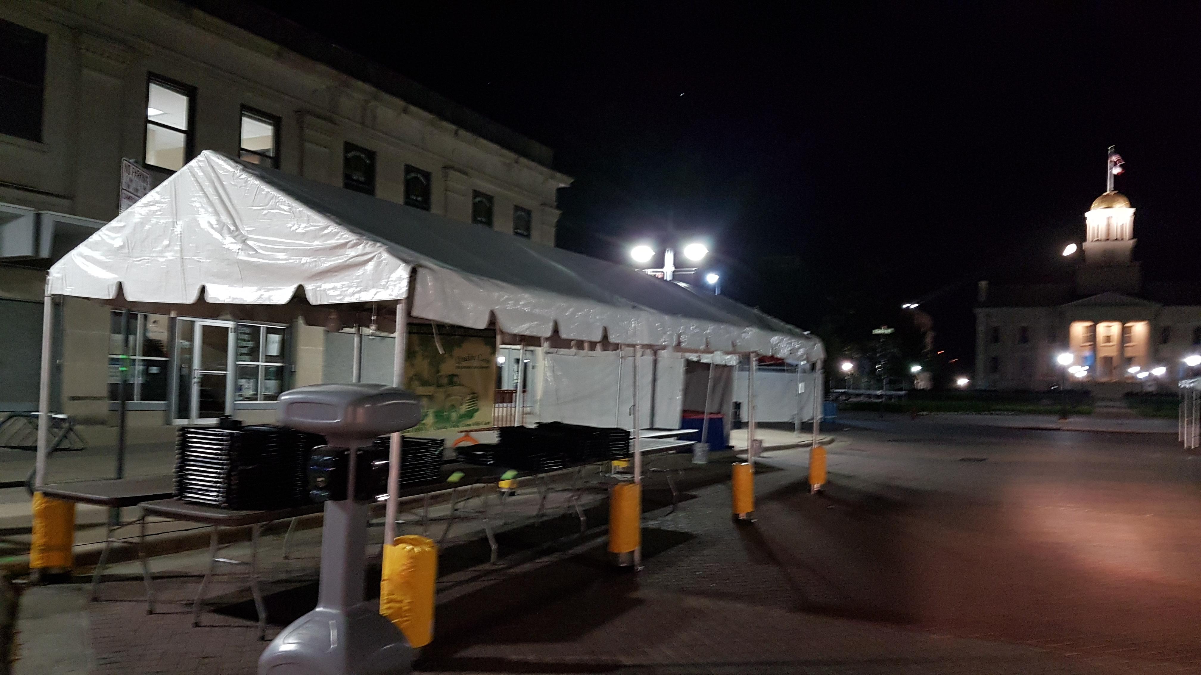 10\' x 30\' frame tent set up at night for an event - Iowa City, Cedar ...
