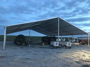 18m x 20m (60′ x 66') Clearspan Tent at dusk