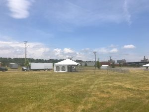 20' x 40' frame tent with side walls for The Muddy Fest in Davenport, Iowa