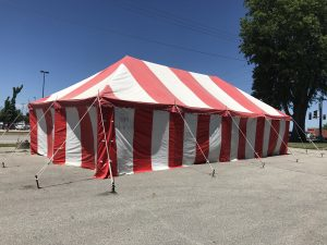 20' x 40' rope and pole Fireworks tent for Ka-Boomers Fireworks in Newton, Iowa