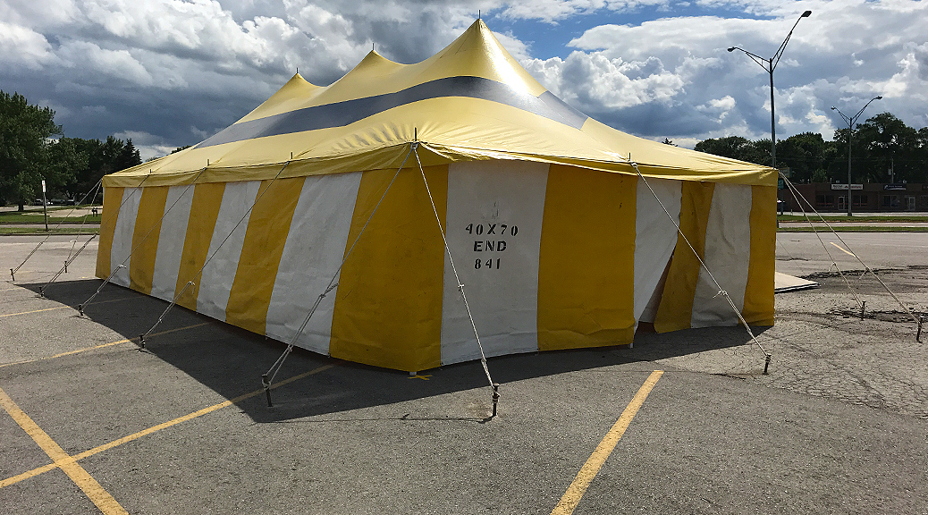 20' x 40' rope and pole fireworks tent at Maple Lanes Bowling Center in Waterloo, Iowa