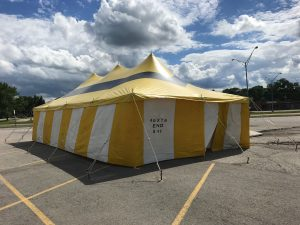 20' x 40' rope and pole fireworks tent for Ka-Boomers Fireworks at Maple Lanes Bowling Center in Waterloo, IA