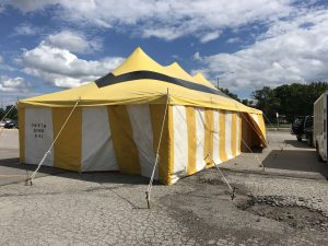 20' x 40' rope and pole fireworks tent for Ka-Boomers Fireworks at Maple Lanes Bowling Center in Waterloo, Iowa