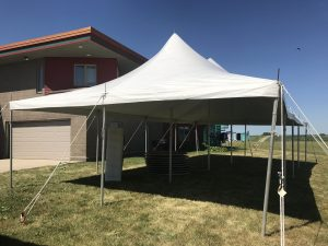 20' x 40' rope and pole tent for a Home Outdoor Wedding Reception Tent in Grinnell, Iowa