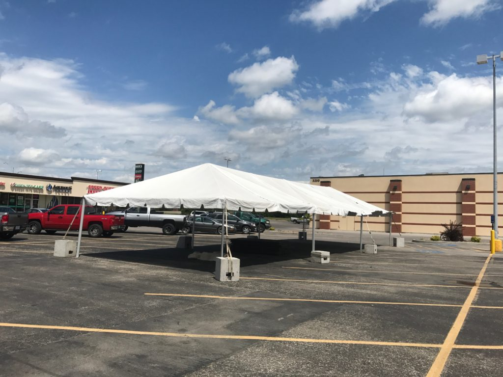 20' x 60' frame tent set up at Harbor Freight Tools in Burlington, Iowa