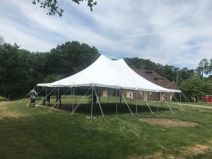30' x 40' rope and pole tent for an outdoor Wedding in Iowa