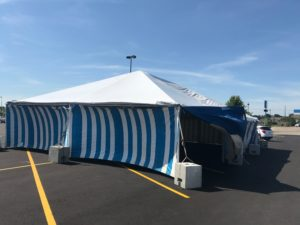 30' x 60' frame Fireworks tent at the Walmart Supercenter in Cedar Rapids, Iowa with blue and white side walls