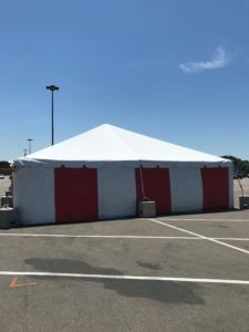 30' x 60' frame fireworks tent at the Walmart Supercenter in Cedar Rapids, Iowa with red and white side walls
