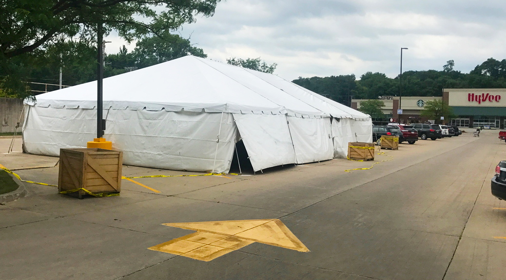 30' x 60' frame tent with white sidewalls for a fireworks stand at Hy-Vee in Cedar Rapids, Iowa