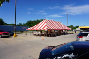 30' x 60' red and white rope and pole fireworks tent at Fareway Grocery at Westwinds Dr in Iowa City, Iowa