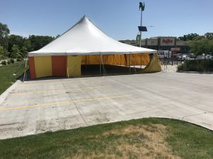 40' x 60' rope and pole fireworks tent at HyVee in Iowa City for Bellino Fireworks