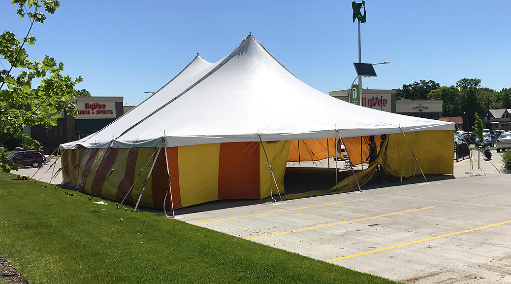 40' x 60' rope and pole fireworks tent at HyVee on Dodge in Iowa City for Bellino Fireworks