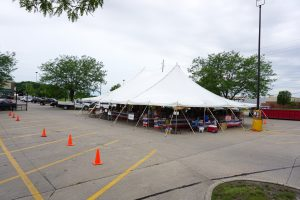 40' x 60' rope and pole tent for Fireworks Stand Hy-Vee 1720 Waterfront Dr, Iowa City, IA 52240