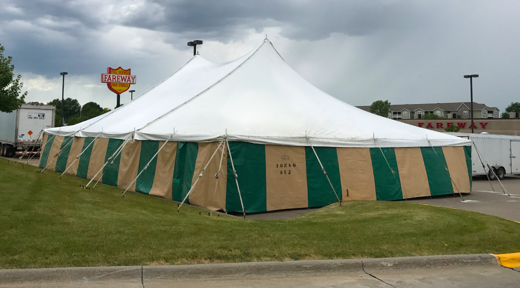40' x 60' rope and pole tent for Fireworks at Fareway Grocery in Bettendorf, IA