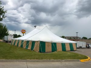 40' x 60' rope and pole tent for Fireworks at Fareway Grocery in Bettendorf, Iowa
