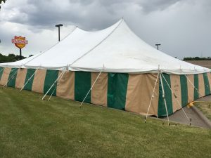 40' x 60' rope and pole tent for Fireworks at Fareway in Bettendorf, Iowa