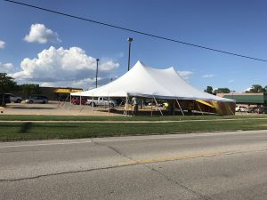 40' x 60' rope and pole tent for fireworks stand at Fareway Grocery in Marion, IA