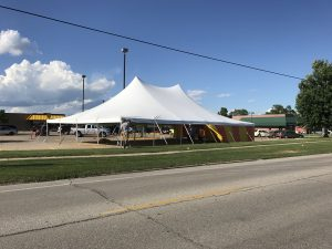40' x 60' rope and pole tent for fireworks stand at Fareway Grocery in Marion, Iowa