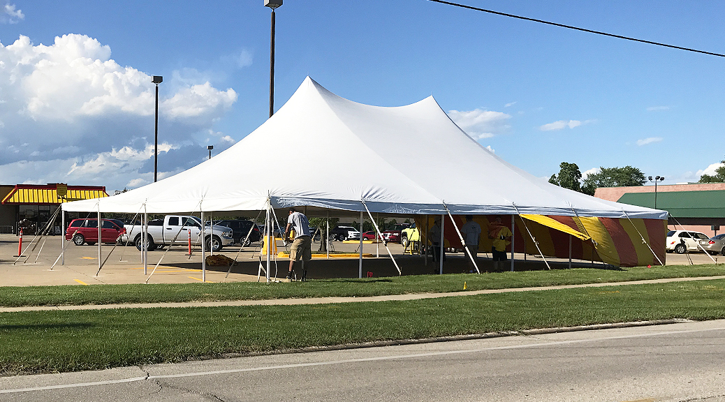 40' x 60' rope and pole tent for fireworks stand at Fareway Grocery in Marion, Iowa forBellino Fireworks