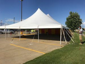 40' x 60' rope and pole tent in Marion, Iowa