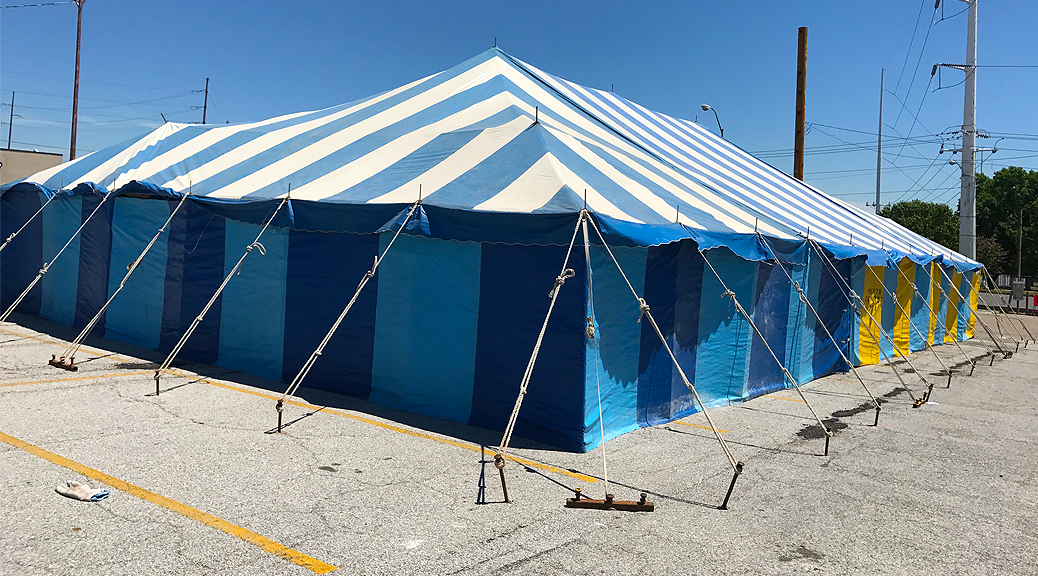 40' x 70' Galla rope and pole tent setup for a fireworks stand in Davenport, Iowa