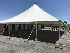60' x 60' rope and pole tent for a fireworks stand for Bellino Fireworks at Collins Crossing, Cedar Rapids, IA