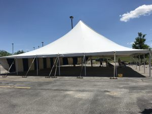 60' x 60' rope and pole tent for a fireworks stand in Cedar Rapids, Iowa