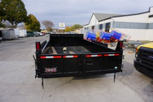 Back of the 6' x 14' Tandem Axle Dump Trailer for rent [5931]