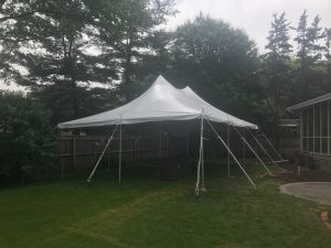 Backyard Graduation Party with 20' x 30' rope and pole tent