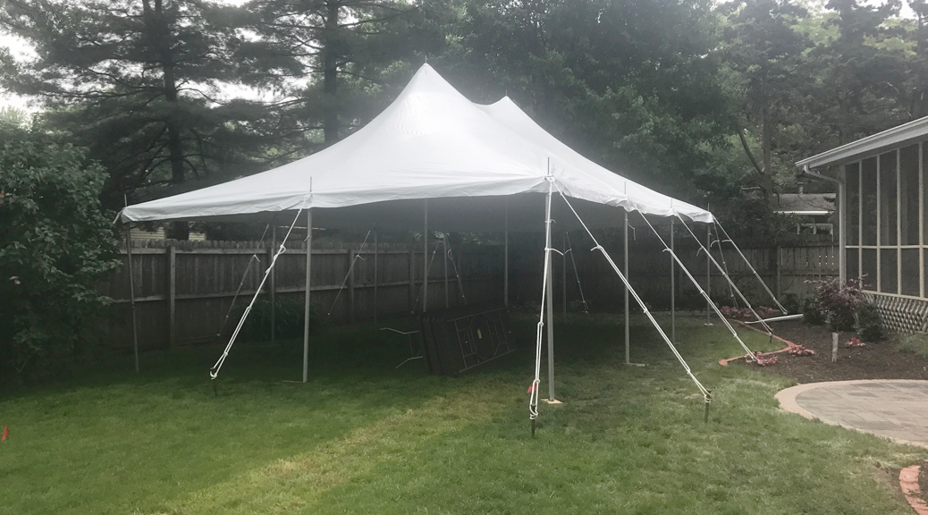 Backyard Graduation Party with 20' x 30' rope and pole tent in Iowa City