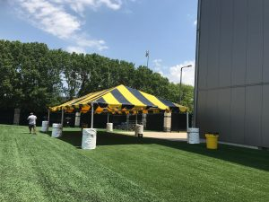 Black and Gold tent for the Ladies Football Academy in Iowa City