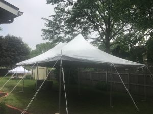 Close fit with this 20' x 30' rope and pole tent in Iowa City