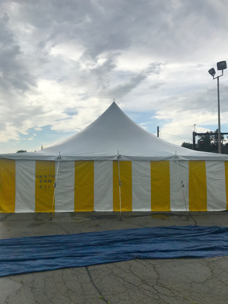 End of 30' x 60' rope and pole tent for Galaxy Fireworks 3801 1st Ave SE, Cedar Rapids, Iowa